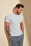 Açık Mavi Erkek Basic Pamuklu Kısa Kollu Slim Fit T-Shirt - TMNSS19BO0001