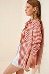 Kadın Kiremit Kareli Hafif Oversize Gömlek DD00898