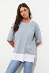 Gri Süprem Parça Detaylı Boyfriend Örme T-Shirt TWOSS20TS0858