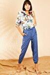 Kadın İndigo Beli ve Paçası Lastikli Mevsimlik Rahat Pantolon 10111026