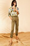 Kadın Haki Beli ve Paçası Lastikli Mevsimlik Rahat Pantolon 10111026