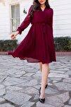 Kadın Bordo Kruvaze Yaka Şifon Elbise