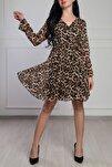 Kadın Leopar Desenli Kruvaze Yaka Şifon Elbise