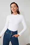 Beyaz Dik Yaka Fitilli Çıtçıtlı Örme Body TWOAW20BD0011