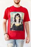 Erkek Kırmızı Baskılı Salaş T-shirt 0yxe1-44016-04