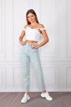 Kadın Buz Mavisi Yüksek Bel Mom Jeans Kot Pantolon