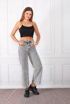 Kadın Gri Yüksek Bel Mom Jeans Kot Pantolon