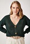 Kadın Zümrüt Yeşili V Yakalı Düğmeli Triko Hırka ZA00025