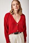 Kadın Canlı Kırmızı V Yakalı Düğmeli Triko Hırka ZA00025