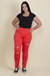 KadınFuşya Taş Ve Yırtık Detaylı Likralı Pantolon 65N17889