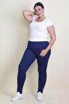 Kadın Lacivert Bel Kısmı Lastikli Tayt Pantolon 65N17890