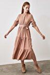 Taş Kuşaklı Kadife Büzgülü Elbise TWOAW20EL2133