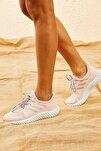 Kadın Pudra Rahat Triko Örme Ayakkabı AYKB001