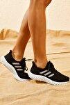 Kadın Siyah Rahat Triko Örme Ayakkabı AYKB001