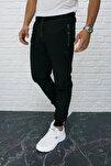 Erkek Siyah Eşofman Altı Beli Ve Paçası Lastikli Fermuarlı Cepli 126