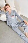 Gri Düğmeli Örme Pijama Takımı THMAW21PT0303