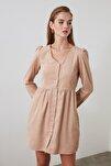 Taş Düğme Detaylı Kadife Elbise TOFAW19ST0191