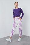 Kadın  Lila Belden Bağlamalı Cepli Paçası Lastikli Pantolon Pantolon