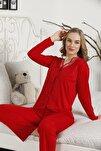 Kadın Kırmızı Alimer Dantel Güpürlü Uzun Kol Yakasız Önden Düğme Pijama Takımı