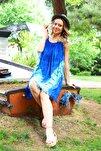 Kadın Saks V Desenli Ip Askılı Batik Elbise