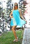 Kadın Turkuaz Kısa Çan V Desen Batik Elbise