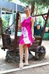 Kadın Pembe Kısa Çan V Desen Batik Elbise