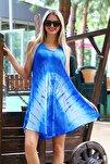 Kadın Lacivert Kısa Çan V Desen Batik Elbise