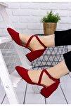 Kadın Kırmızı Süet Çapraz Klasik Topuklu Ayakkabı