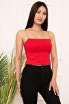 Kadın Kırmızı İp Askılı Bluz