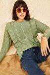 Kadın Mint Yeşili Ajurlu Fırfırlı Yumuşacık Kazak