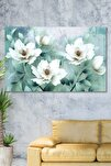 70x100 Soft Çiçekler Kanvas Tablo