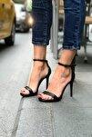 Kadın Siyah Yüksek Topuklu Tek Bant Ayakkabı