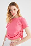 Pembe Büzgülü Basic Örme T-Shirt TWOSS21TS0131