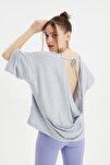 Gri Sırtı Degaje Detaylı Örme Bluz TWOSS20BZ1040