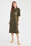 Haki Nakışlı Örme Elbise TWOSS21EL0175