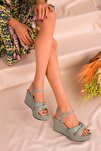 Yeşil Kadın Dolgu Topuklu Ayakkabı 16259