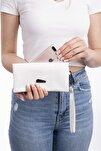 Beyaz Telefon Bölmeli Lamine Deri Cüzdan