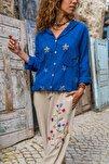 Kadın İndigo Yıkamalı Keten Fileli Yıldız Pullu Kapüşonlu Bluz GK-RSD2046