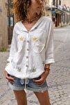 Kadın Ekru Yıkamalı Keten Fileli Yıldız Pullu Kapüşonlu Bluz GK-RSD2046