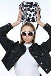 Kadın Siyah Benek İnek Desenli Askılı Çapraz Çanta