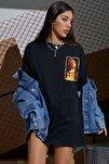 Kadın Siyah Stop Baskılı Oversize T-Shirt