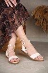 Kadın Bağlamalı Sandalet Bej