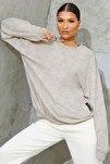 Kadın Karmelanj Basic 0 Sıfır Yaka Baskısız Düz Oversize Salaş Bol Kesim Polar Sweatshirt