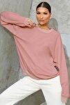 Kadın Lila Basic Sıfır Yaka Düz Oversize Salaş Bol Kesim Polar Sweatshirt