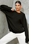 Kadın Siyah Basic 0 Sıfır Yaka Baskısız Düz Oversize Salaş Bol Kesim Polar Sweatshirt