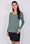 Pamuk Likralı Uzun Kollu Kadın T-shirt Yeşil
