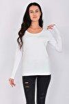 Pamuk Likralı Uzun Kollu Kadın T-shirt Beyaz