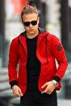 Erkek Kapüşonlu Kırmızı Mevsimlik Ceket