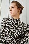 Kadın Bej Zebra Desenli Body