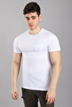 Erkek Bisiklet Yaka Cepli Kısa Kollu Slim Fit Beyaz T-shirt